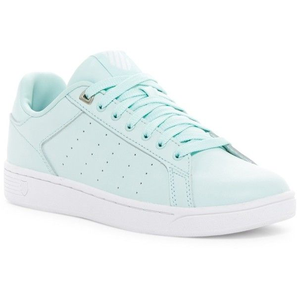 K-Swiss Clean Court CMF Sneaker featuring polyvore, women's fashion, shoes, sneakers, lace up shoes, k swiss trainers, cushioned shoes, leather lace up shoes and perforated leather sneakers