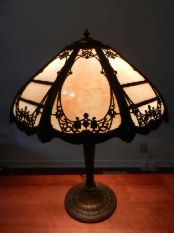 Miller lamp company cast metal art nouveau table lamp w 8 panel slag glass shade