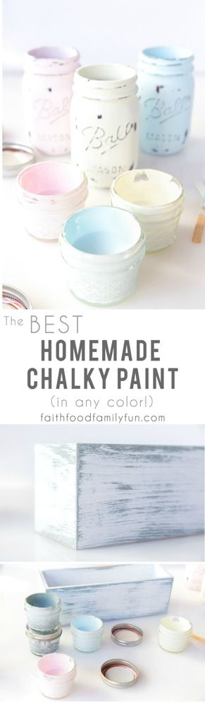 BEST Homemade Chalk Paint Recipe with Infinite Color Options (made with calcium carbonate) I'll never buy it in the store again! | FaithFoodFamilyFun