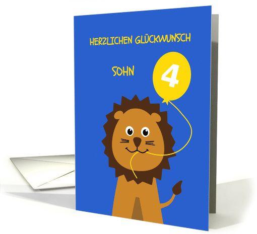Herzlichen Glückwunsch Sohn - Happy 4th birthday cute lion card for son, german language