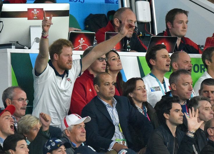Prince William,Duchess Kate and Prince Harry watch England v Wales rugby match. Sept,26,2015