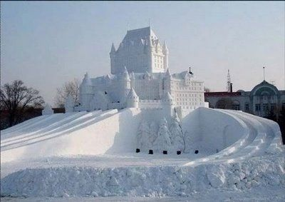 Exterior - hotel de Glace - Canada  an Ice Hotel. Not the warmest, but who can say they slept in an igloo-ish hotel?
