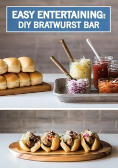 Please tailgaters with a DIY bratwurst bar. You'll score big with the easy setup and delicious customization of this build-your-own-brat bar.