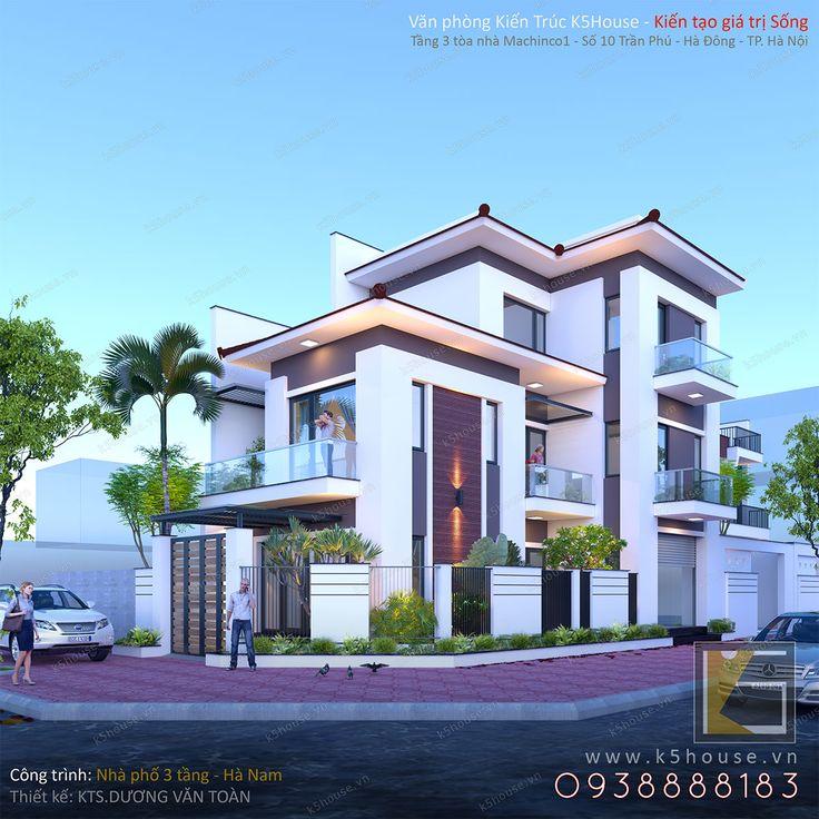 Nhà phố 3 tầng đẹp hiện đại - Văn phòng Kiến trúc K5HOUSE chuyên tư vấn thiết kế Kiến trúc Biệt thự, nhà phố đẹp hiện đại.