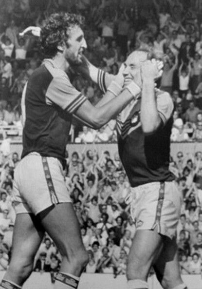 """The chicken run go wild and can't believe their eyes as Dave """"psycho"""" Cross attempts to pick Pop Robson up by his ears during the first game of the 1978-79 season."""