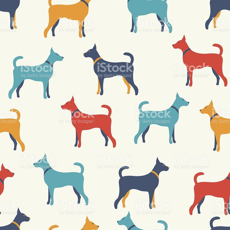 Animal seamless vector pattern of dog silhouettes. Endless textu royalty-free stock vector art