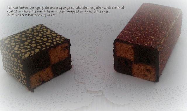 My Battenburg cake with a 'twist'. Peanut Butter Cake & Chocolate Cake