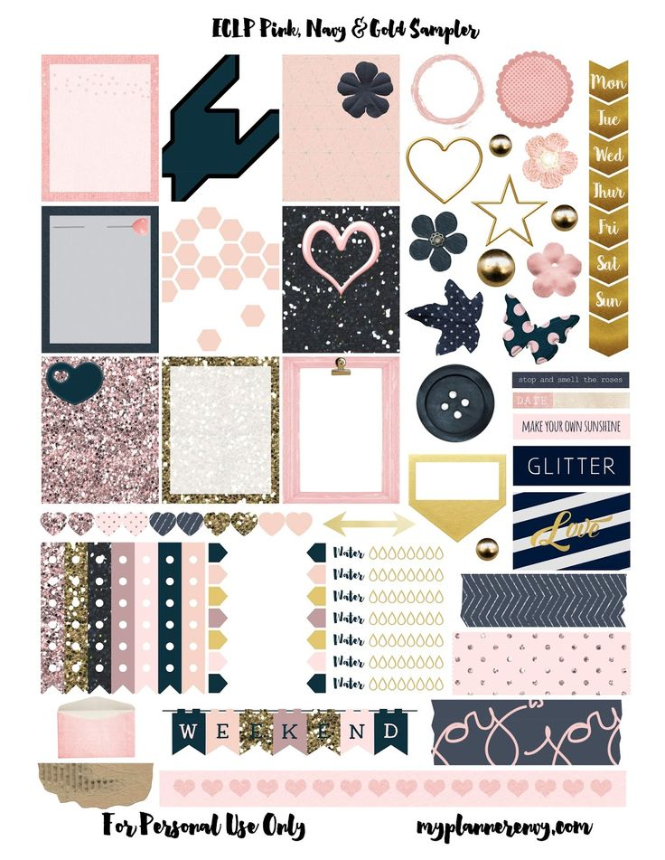 Free Pink, Navy, & Gold Sampler - My Planner Envy