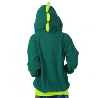 女の子のためのフリース恐竜ジップパーカグリーンコスプレ衣装