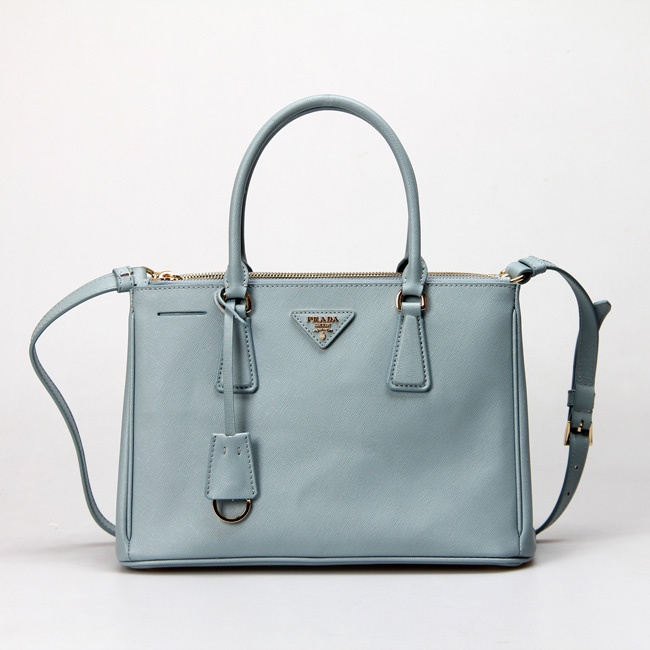 Prada Calf leather Tote Classic Galleria Collection Water blue
