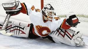 "MY FAVORITE Calgary Flame, goalie Miikka Kiprusoff.  He'll save a shot with anything!  Toe, paddle,  whatever.  I don't know how he saves a lot of the shots that he does.  Aah Kipper.  I'm going to name my next new pet ""Kipper"" or child whatever..."