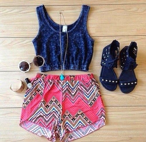 Zeliha's Blog: Aztec Shorts Top Navy Crop The Fashion: Gorgeous dress black fur Summer outfits Teen fashion Cute Dress! Clothes Casual Outift for • teens • movies • girls • women •. summer • fall • spring • winter • outfit ideas •