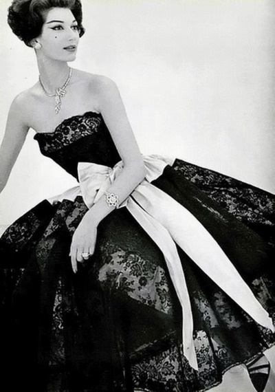 Simone in black lace and rose moire dress Philippe Pottier: Coco Chanel, Inspiration, Style, 1950S, Vintage Fashion, Dresses, 1950 S, Vintage Chanel