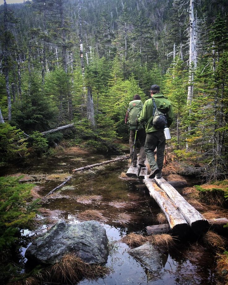 Crossing the bog logs to some steep icy climbing. #bushcraft #backpacking…