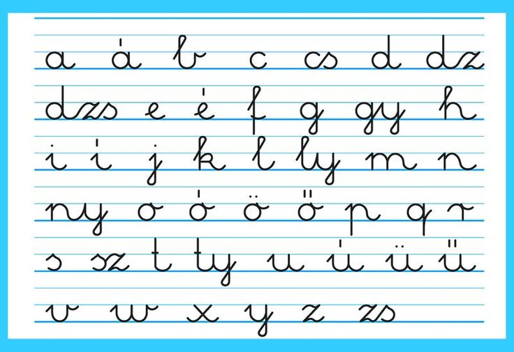 The Hungarian written small letter alphabet