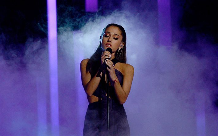 Download wallpapers Ariana Grande, portrait, concert, American singer, microphone, black dress