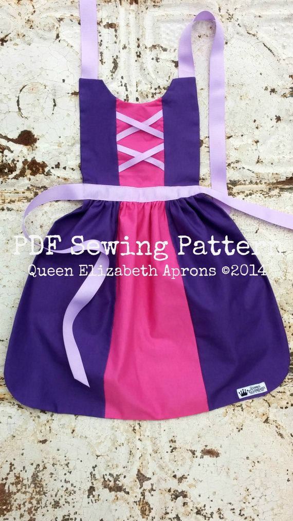 RAPUNZEL TANGLED Disney Princess inspired Child Costume Apron Pdf sewing PATTERN. Girls sizes 12month-8 Birthday Party Dress up Play Prop