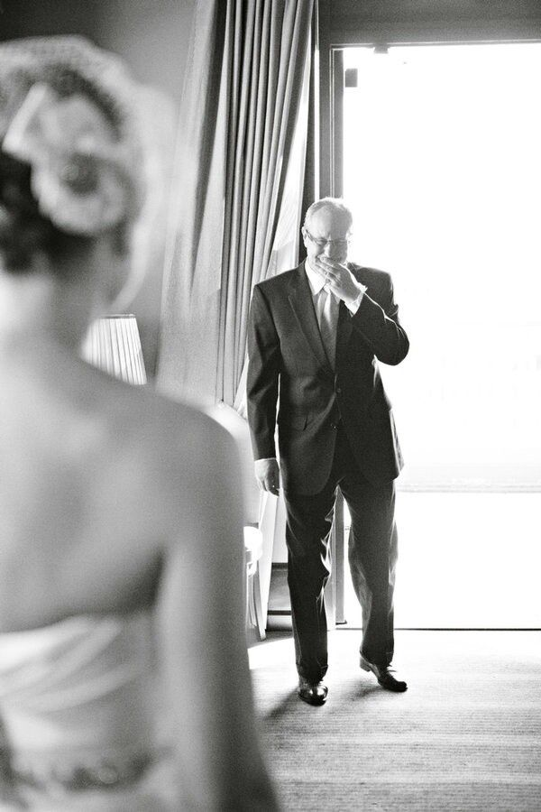 Capturing a father's first look at his daughter as a bride