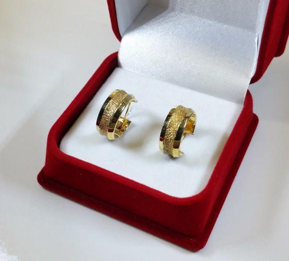 Ohrringe Gold 585 Ohrhänger Creolen Italy Vintage von Schmuckbaron