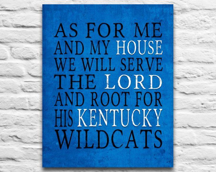 "Kentucky Wildcats inspired Customized Art Print- ""As for Me"" Parody- Unframed Print"