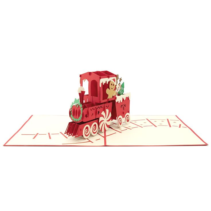 The fun Christmas friends chilling on a rolling candy train will spread the holiday spirit to anyone. Check out this product at https://charmpopcards.com/product/gingerbread-train-pop-up-card #popupcardvietnam #popupcardwholesale #charmpopcards