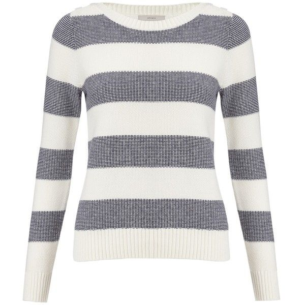 John Lewis Capsule Collection Stripe Texture Jumper , Ivory / Navy found on Polyvore