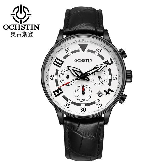 Sale New Ochstin Leather Band Multifunction Fashion Wrist Watches Men's Quartz-watch Relojes Hombre Black Male Clock Relogio