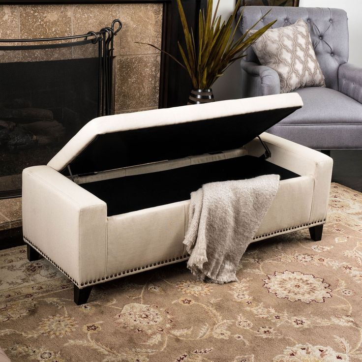 Leather Sofas Guernsey Studded Fabric Storage Ottoman Bench by Christopher Knight Home