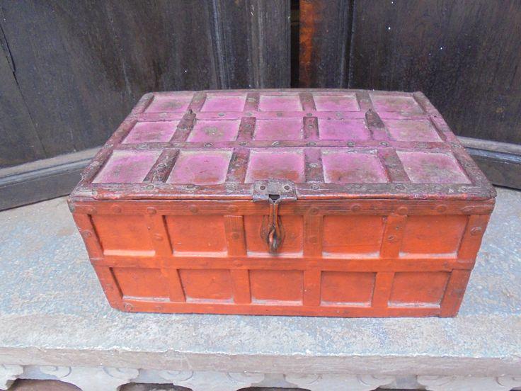 Temple Box Antique from Gujarat, India. Hindu Gods. Orange. Pink. Painted. Original. Genuine. Writing box. Cash box. by Lallibhai on Etsy