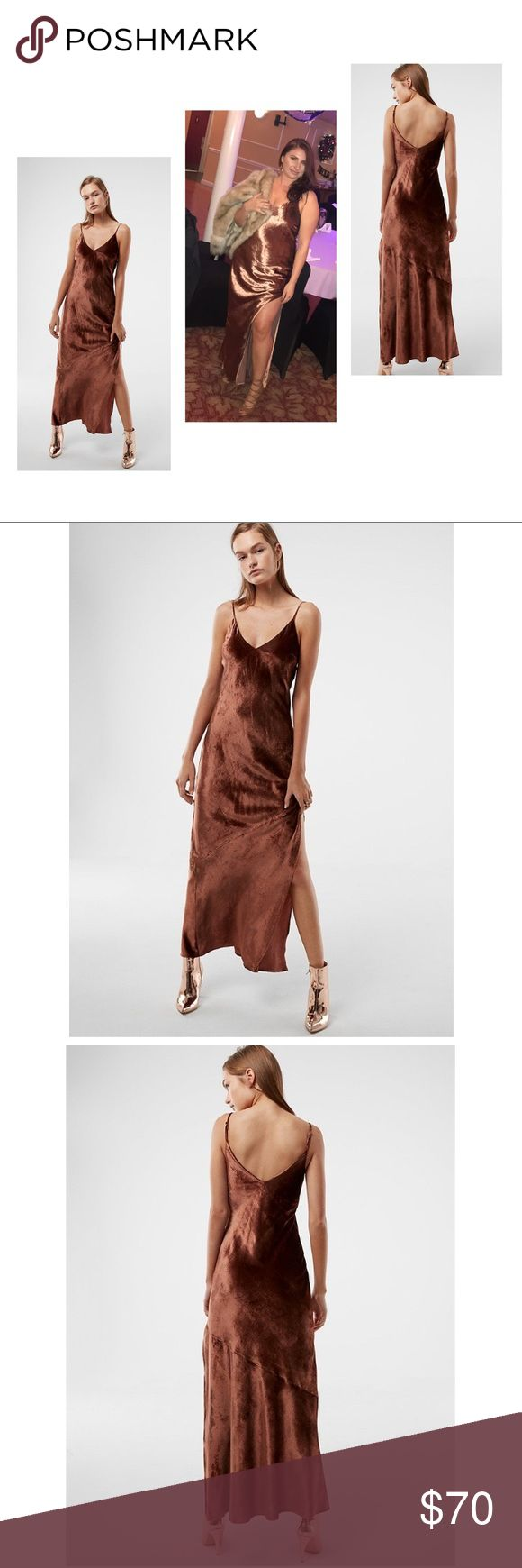 Velvet Brown Maxi Dress Long Maxi Dress With Side Slit. Worn Once. Express Dresses Maxi
