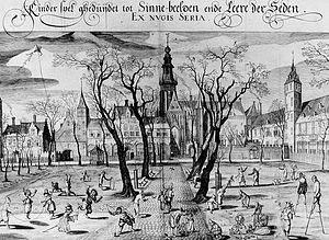 Abdijplein Middelburg, op gravure uit 1618