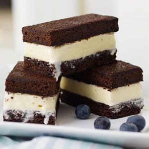 Easy ice cream sandwiches with boxed brownie mix. #chocolate #recipes