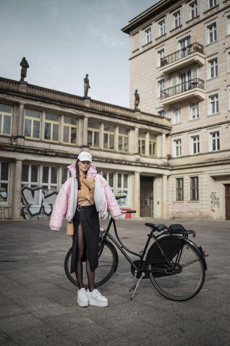 PINK puffer & SLIT skirt – Melisa Minca