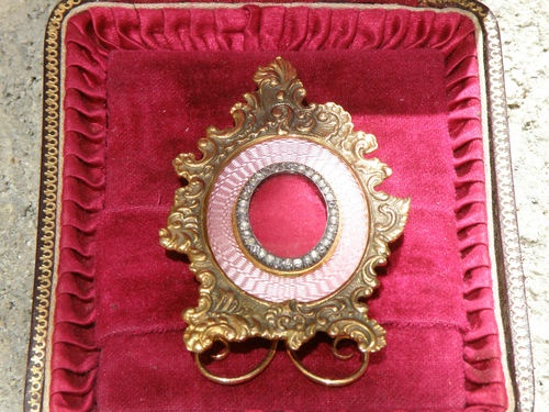 Antique Russian Faberge Gold Guilloche Enamel Miniature Picture Frame; Faberge.