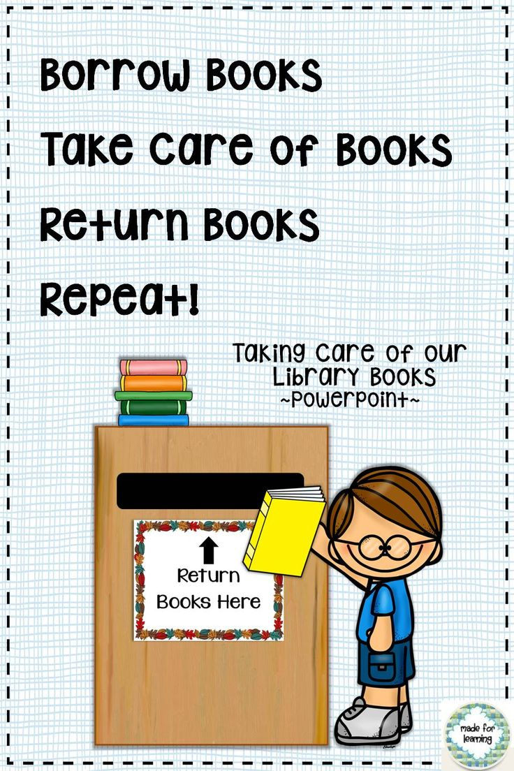 Powerpoint lesson focusing on book care in the context of borrowing and returning library books.  $