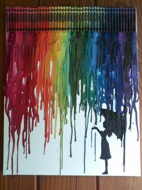 Chica en lluvia derretido Crayon arte pintura por OnceUponACrayon