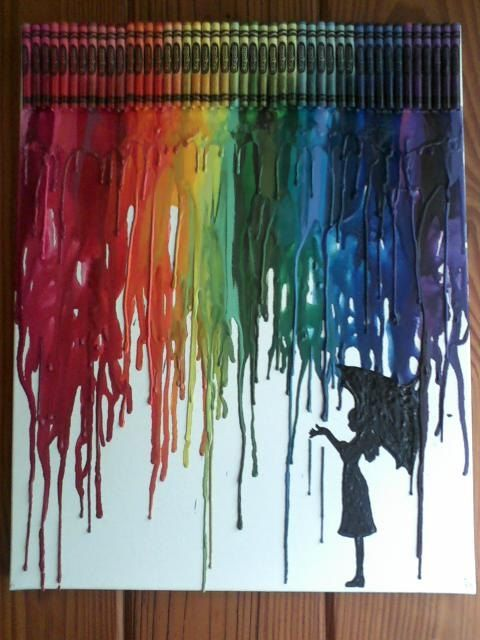 Girl in rain melted crayon art painting best crayon art for How to melt crayons on canvas