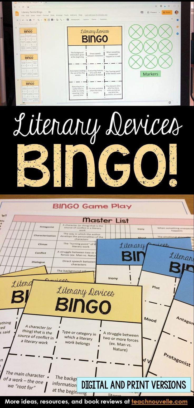 Thi Bingo Game I A Great Way To Review Literary Term Irony Foreshadowing English Language Art Classroom High School Definition For Paraphrase