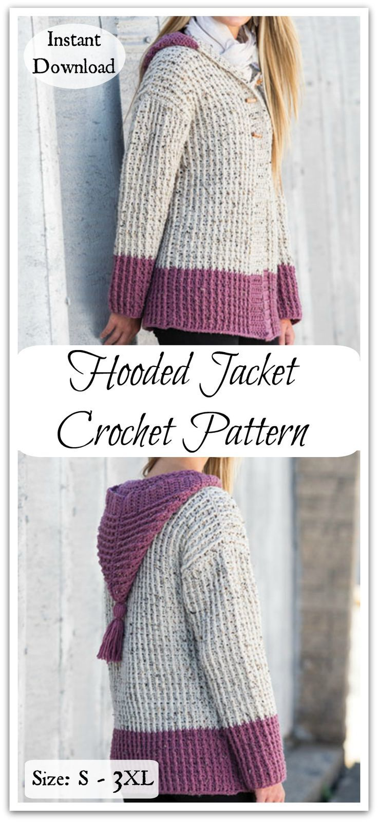 Your new favorite hoodie is here! This jacket with hood is a winning combination of warmth, comfortable drape and modern styling. #ad #affiliate #crochet #pattern