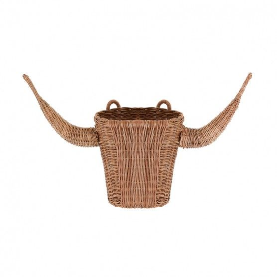 Bull Head Planter - #Handwoven from #rattan and featuring a loop on the back for easy wall hanging, this little fellow looks right at home on your favourite wall. #planter #bullhead