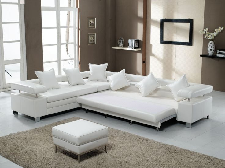 Living Room. Contemporary White Sofa Bed With Plain White Throw Pillows  Closed To Polyester Living