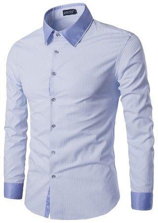 Camisa Moderna y Sofisticada a Rayas con Cuello Fashion - Azul Cielo