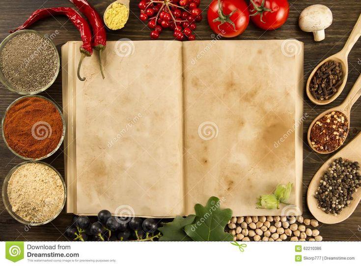 Open Uitstekend Boek Met Kruiden Op Houten Achtergrond Gezond Vegetarisch Voedsel Recept, Menu, Spot Omhoog, Het Koken Stock Foto - Afbeelding: 62210386