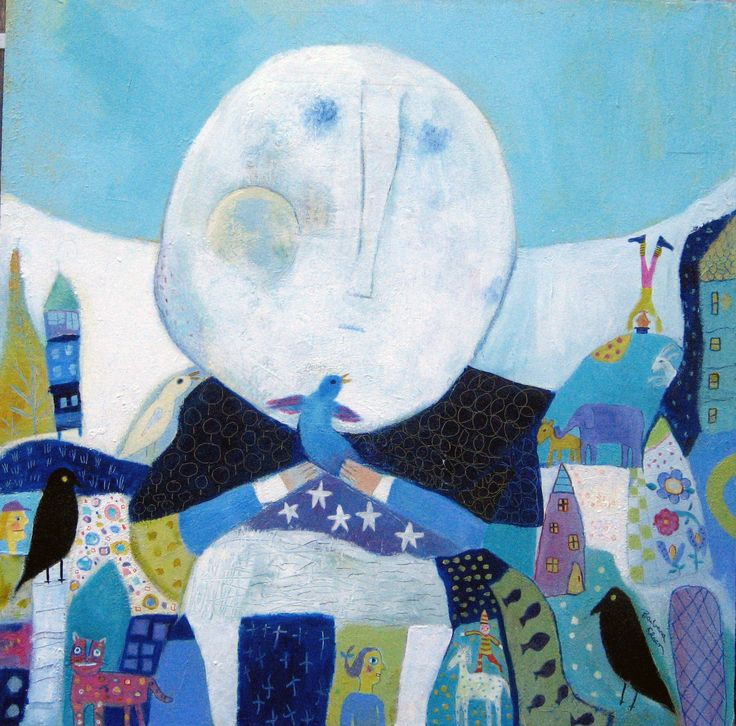 Moon Visit, ©Barbara Olsen Acrylic,Oilpastels 36x36 on canvas