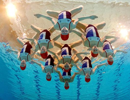 The Great Britain Synchronized Swimming team poses after the announcement of the synchronized swimming athletes for the London 2012 Olympic Games at Garrison Sports Centre, May 8, 2012 in Aldershot, England. (Clive Rose/Getty Images)