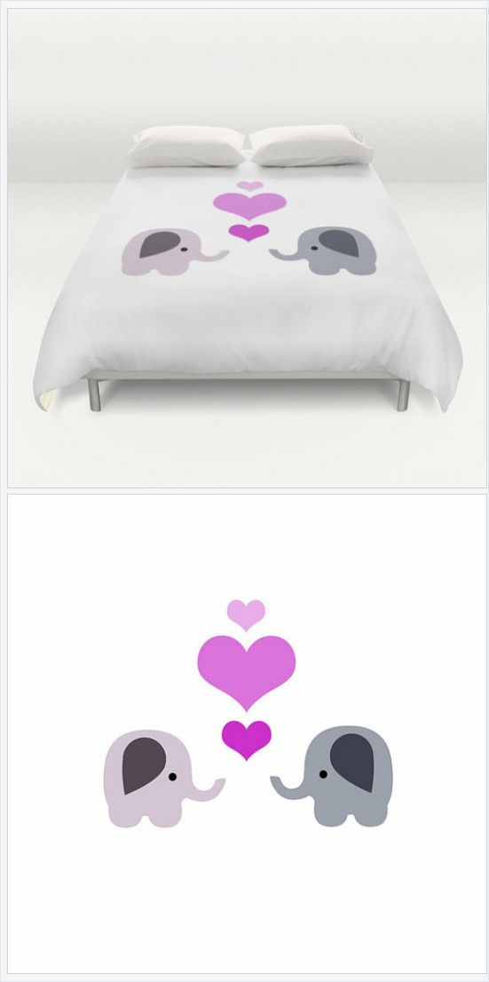 Elephant Bed Cover - Duvet Cover Only -  Duvet Cover -  Bed  Spread - Elephants With Hearts - Made to Order