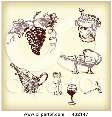 Royalty-Free (RF) Ilustrace Klipart digitální koláž načrtl hroznů a vína Nástroje na sépiový tón Eugene