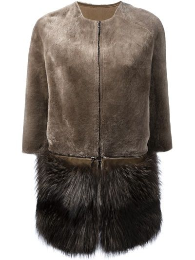 MAVINA Fur Collarless Coat