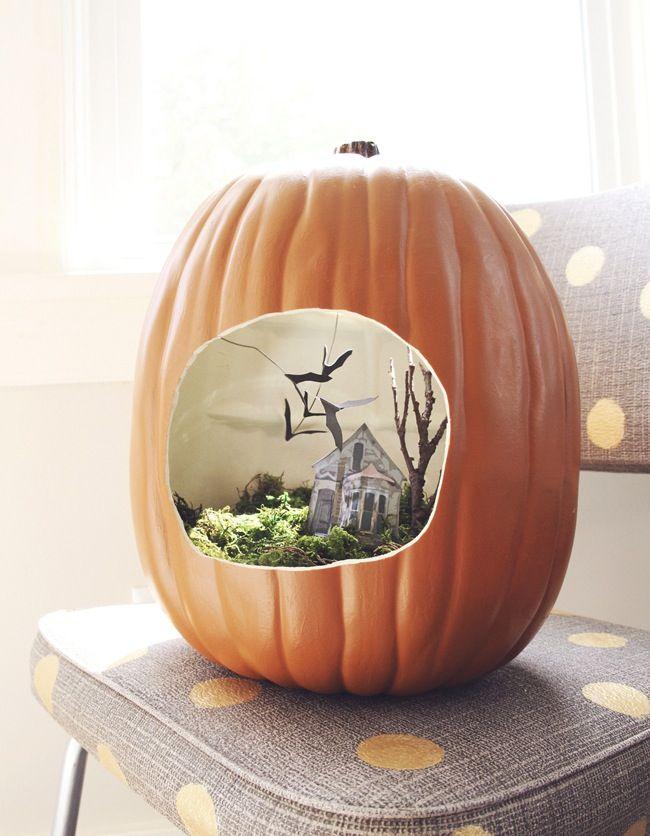 Save this for DIY Halloween pumpkin diorama inspiration.