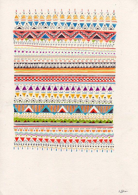 navajoArtists Sandra, Illustrationer Colors Pattern, Art Design Ideas, Artworks Inspiration, Tribal Animals Art Prints, Sandra Dieckmann, Tribal Prints, Tribal Pattern Art, Native American Wall Art